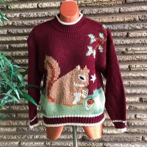 Vintage Graphic Sweater Squirrel with Nuts